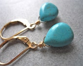 South Shore Petite, Turquoise earrings, Leverback or French Ball Ear wires, Leverback earrings, dangle earrings, drop earring, SPECIAL PRICE