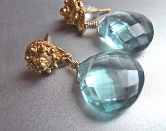 Post Earrings, Aqua Post Earrings, Aquamarine Post Earrings, Quartz Post Earrings, Topaz Blue Earrings, Poolside - Post, Amazing Color