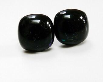 Black Earrings Post Earstuds Studs Black Glass Fused Earrings