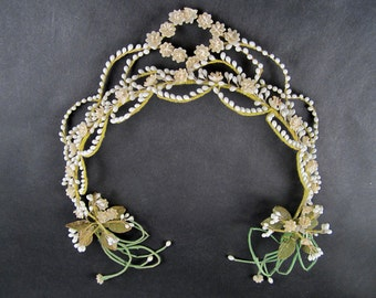 antique edwardian wax flower bridal headpiece tiara