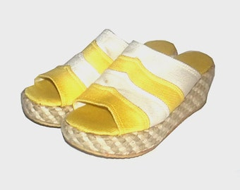 1960s shoes / vintage 60s platforms / sandals / 7 / Yellow and White Rope Platform Espadrille Sandals