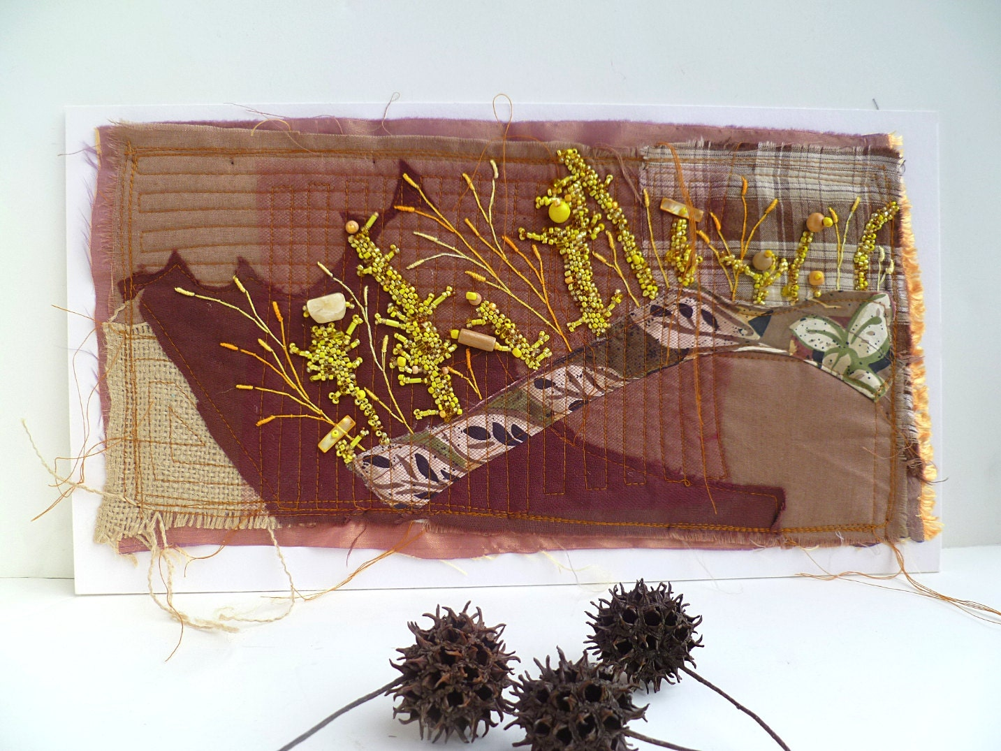 Sale fragments in brown iv free form fiber art embroidery