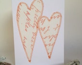 Screen Printed Fabric Golden Wedding Anniversary Card