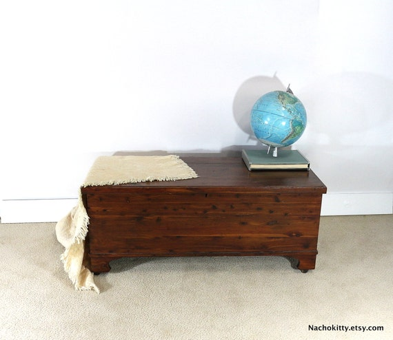 Solid Wood Coffee Tables With Storage Cabinets For Sale: 1910s Trunk Wooden Coffee Table End Of The Bed By Nachokitty