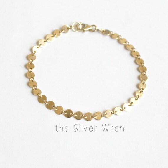 Delicate Gold Bracelet, Gold Coin Link Bracelet, Bridesmaids Bracelet ...