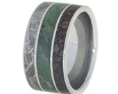 Jade Wedding Band for Women or Men with Dinosaur Bone and Gibeon Meteorite, Titanium Wedding Band