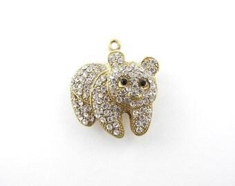 Gold-tone Rhinestone Encrusted Bear Pendant