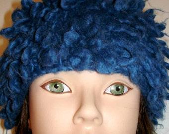 fun vintage loopy blue wool acrylic blend hat