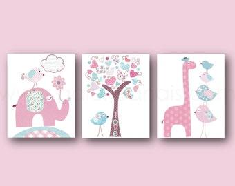 Girl Nursery Wall Art Pink blue Nursery art Baby girl nursery decor kids art giraffe nursery elephant nursery Birds Tree Set of three prints