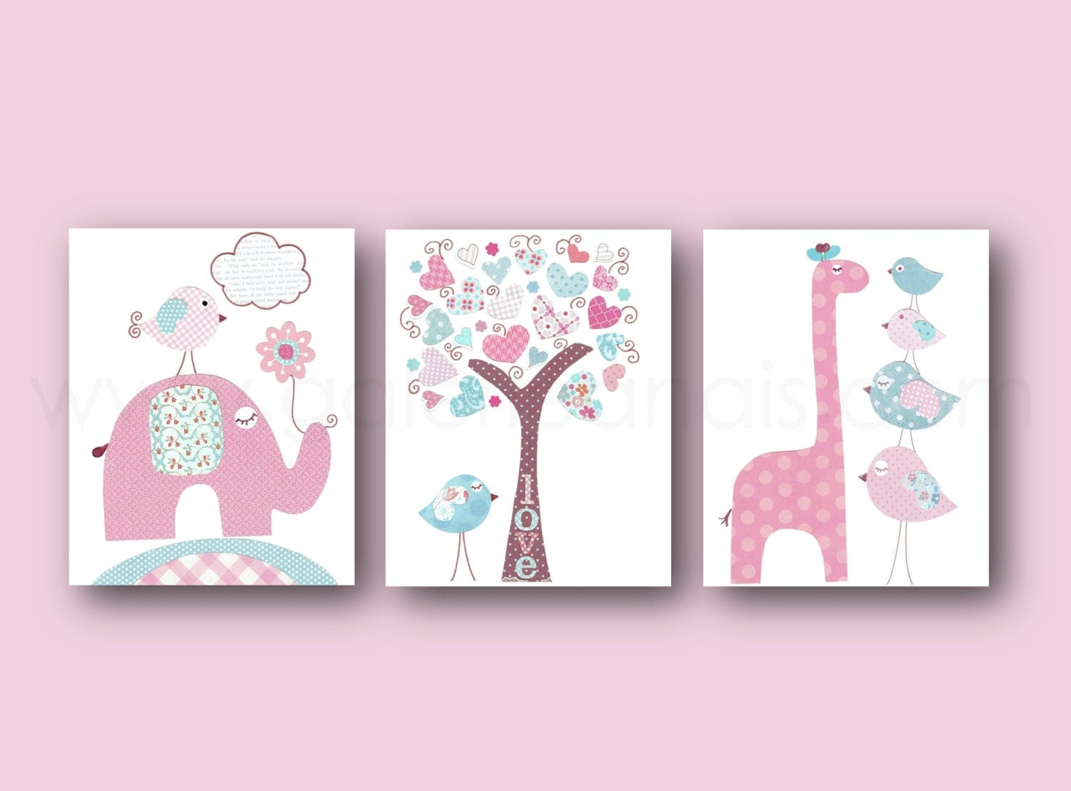 Girl nursery wall art pink blue nursery art baby girl nursery - Wall decor girl nursery ...