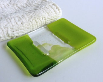 Fused Glass Soap Dish in Spring Green