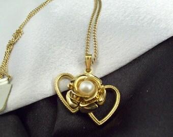 Double Golden Hearts Pearl Rose Pendant Necklace Vintage 80s Spiedel Chain