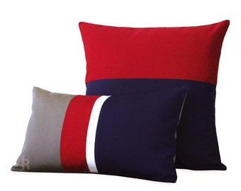 OUTDOOR Colorblock Pillow Set of 2 - Gray, Red, White & Navy - Modern Decor by JillianReneDecor - Summer Decor