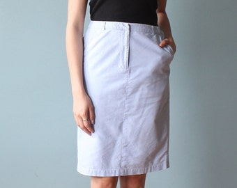 chambray skirt | preppy oxford pencil skirt | 1980s small