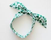 Green Irish Shamrocks Head Scarf / Hair Accessory / St. Patricks Neck Scarf / Handbag Adornment / White, Green Hair Scarf / Gift Under 15