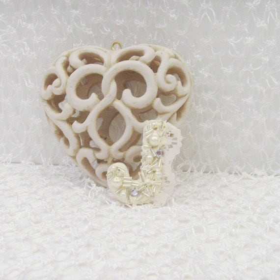 Romantic Letter J Brooch - Lapel Pin / Feminine Creamy White Wood Brooch / Repurposed Vintage Wood / Pearls - Lace - Rhinestones / OOAK
