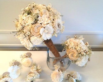 Rustic Wedding Bouquet made with sola flowers - Bridal bouquet - Alternative bouquet - bridesmaids - natural - made to order