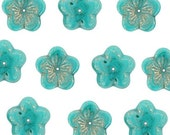 Czech Flower Beads 16mm Turquoise Luster 18079 Turquoise Flower Beads, Jablonex Glass Beads, Large Glass beads, Jewelry Beads, Glass Flowers