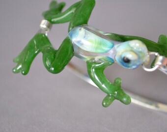 Frog Bracelet mounted on Silver cuff.