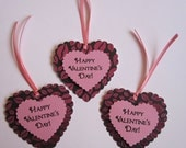 Happy Valentine's Day Heart Favor Tags w/pink lips - 16 tags