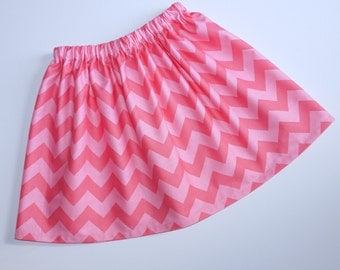 Size 6 Pink on Pink Chevron Twirl Skirt Ready To Ship Handcrafted by valeriya
