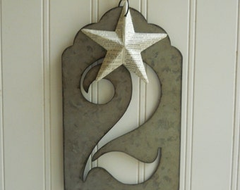 """Large metal number two stencil hanging with vintage French dictionary papered star Jumbo zinc look 5 1/2"""" tall font Industrial chic"""