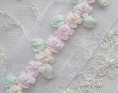 36 inch Hand Embroidered PINK Organza Ribbon Flower Trim Antique Vintage Baby Doll Christening Gown