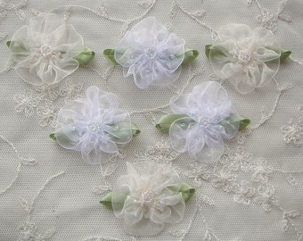 6pc Glass Beaded White ivory Organza Fabric Flower Applique Baby Doll Christening Bridal Corsage