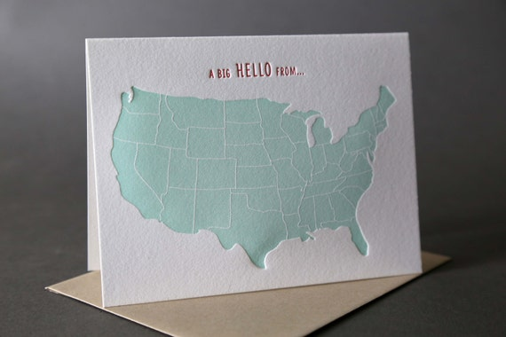 US Map A Big Hello From...