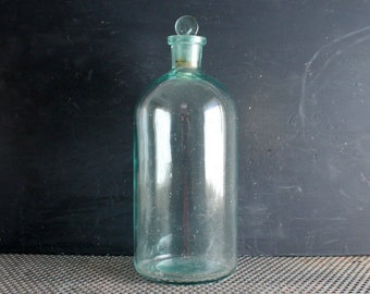 Antique Large Aqua Green Glass Apothecary Bottle with Stopper, Vintage Pharmacy