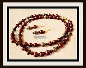 Brown All Brown Textured Necklace Set with Antique Gold Bicones