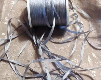 4mm Steel Gray Blue silk ribbon 5 yards J044