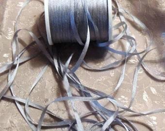4mm Steel Gray Blue silk ribbon 5 yards J044