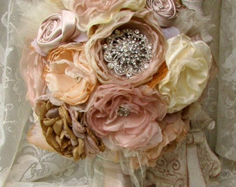 Brooch Bouquet, Vintage Fabric Bouquet, PInk Champagne, Caramel and Ivory, Bridal Bouquet, Alternative bouquet
