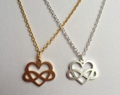 Infinite Love Necklace in silver or gold plated chain, Polyamory Jewelry, infinite love jewelry