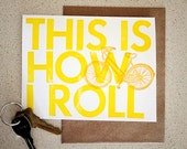 This is how I roll letterpress bike card