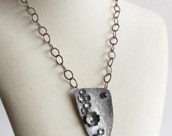Floral Garnet Shield Necklace - Museum Show Featured - Statement Necklace