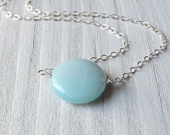 Amazonite Necklace Pastel Blue Coin Bead Pendant Sterling Silver Jewelry, Gift for Her
