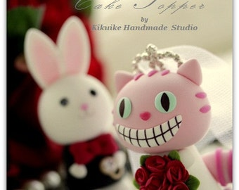 Wonderland love cheshire cat and rabbit  with sweet heart base----k754