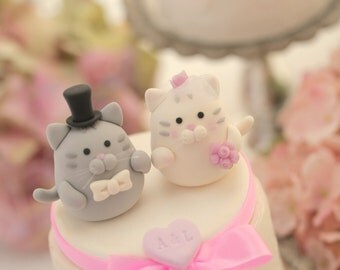 cat wedding cake topper, kitty Wedding Cake Topper,pets wedding cake topper---k881