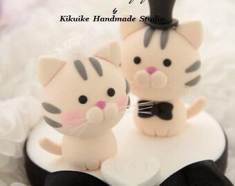 cat wedding cake topper,  kitty Wedding Cake Topper,pets wedding cake topper---k802