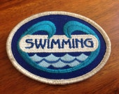 "Swimming Patch, Blue waves design.  Vintage Girl Scout Patches.  3"" oval 90s patch pool party vintage patch"