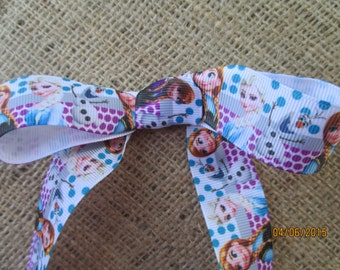 "Frozen ribbon  Grosgrain 1"" Wide   Elsa  Anna Olaf"