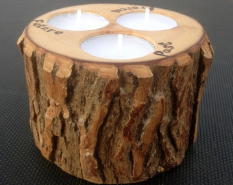 Anniversary Candle of Rustic Willow Wood