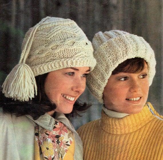 Knitting Patterns Aran Beanie Hats : 2 Knitting Patterns Aran Knit Hat Pattern and Ribbed Brim Hat