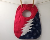 Grateful Dead Baby Gift - 13 Point Lightning Bolt - Deadhead Baby Bib - Steal Your Face - Phish - Hippie Babyshower - Jerry Garcia