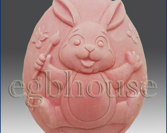 2D silicone Soap/polymer/clay/cold porcelain mold- Bunny Paints The Town - from original designer - say no to copycats