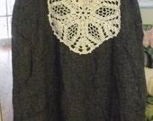 100 Percent Linen/Black Check/Maxi/Vintage Crochet/Handkerchief Embellishment/Size Large
