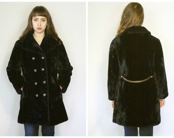 60s Faux Fur Peacoat / Black Mod Double Breasted Faux Fur Coat Jacket / Size L Large