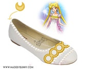 PRINCESS SERENITY | Sailor Moon | Bishōjo Senshi | Crescent Moon | Shoe Design for Flats with Crystal Rhinestones, Glitter, Pearls